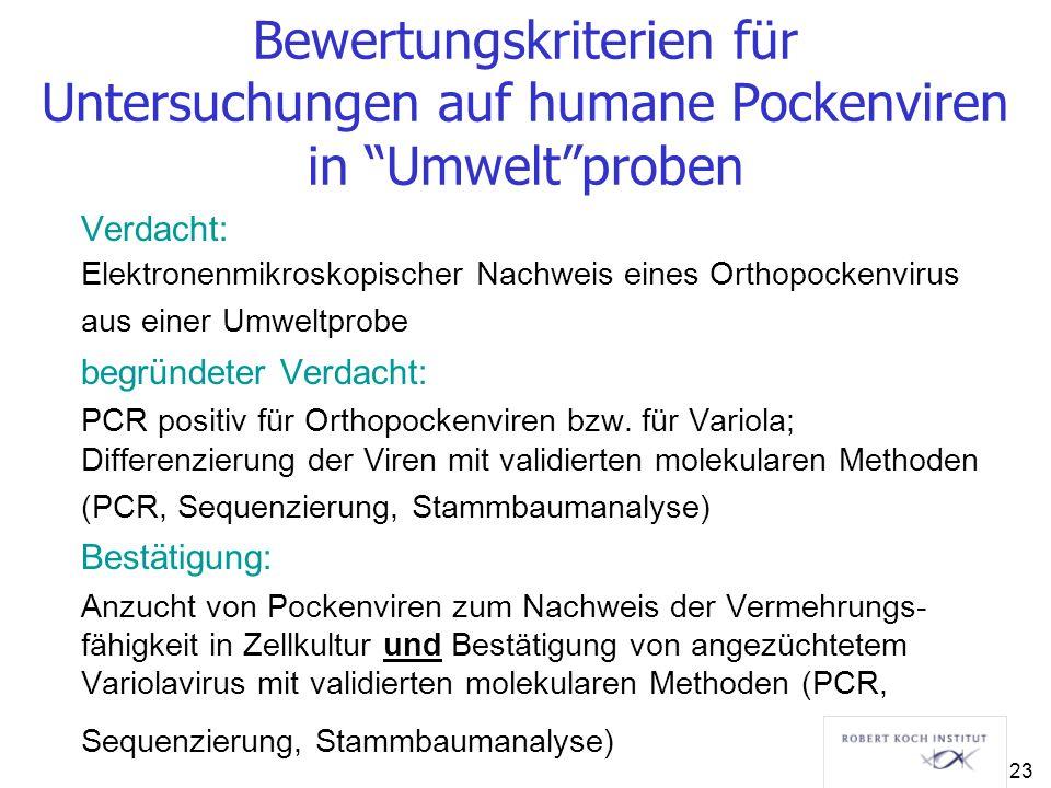 Bewertungskriterien für Untersuchungen auf humane Pockenviren in Umwelt proben