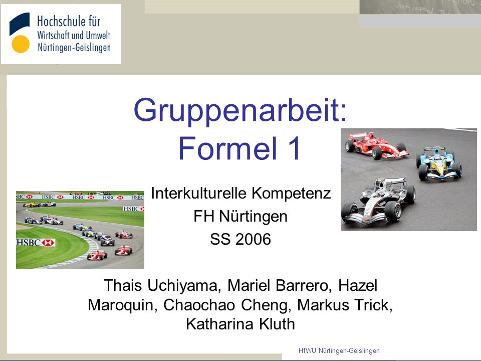 Gruppenarbeit: Formel 1
