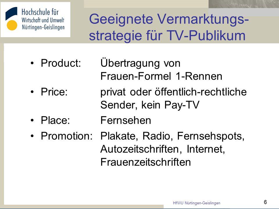 Geeignete Vermarktungs-strategie für TV-Publikum