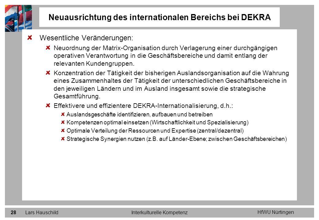 Neuausrichtung des internationalen Bereichs bei DEKRA