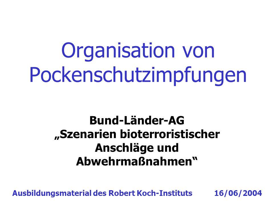 Organisation von Pockenschutzimpfungen