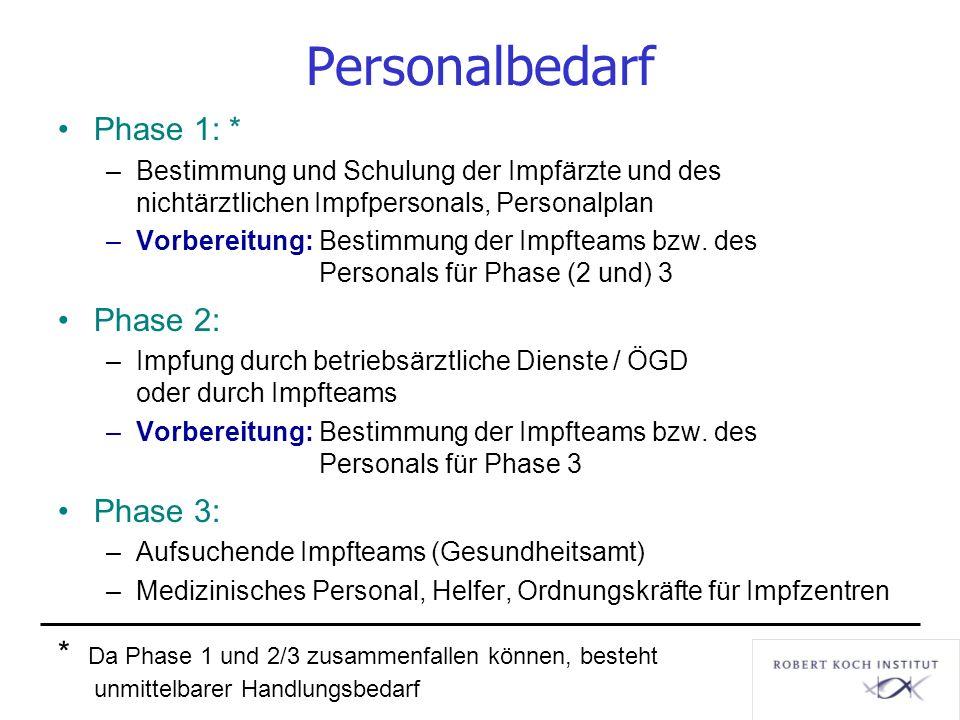Personalbedarf Phase 1: * Phase 2: Phase 3: