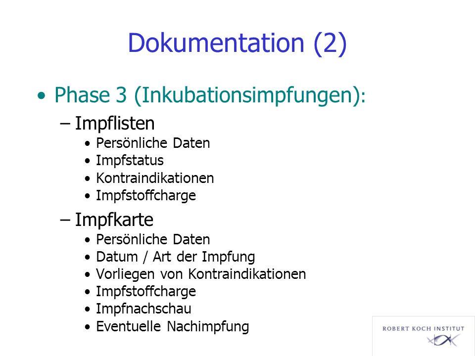 Dokumentation (2) Phase 3 (Inkubationsimpfungen): Impflisten Impfkarte