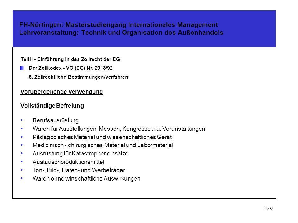 FH-Nürtingen: Masterstudiengang Internationales Management Lehrveranstaltung: Technik und Organisation des Außenhandels