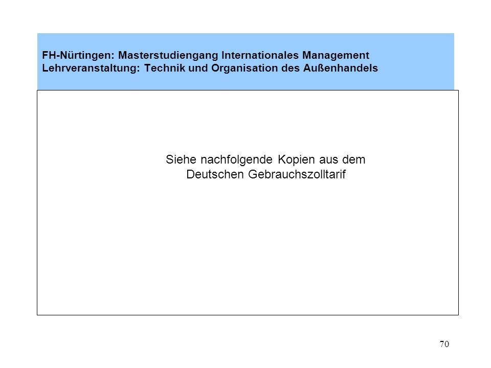 Siehe nachfolgende Kopien aus dem Deutschen Gebrauchszolltarif