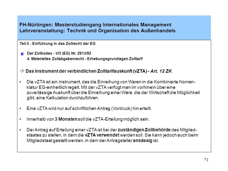 Das Instrument der verbindlichen Zolltarifauskunft (vZTA) - Art. 12 ZK
