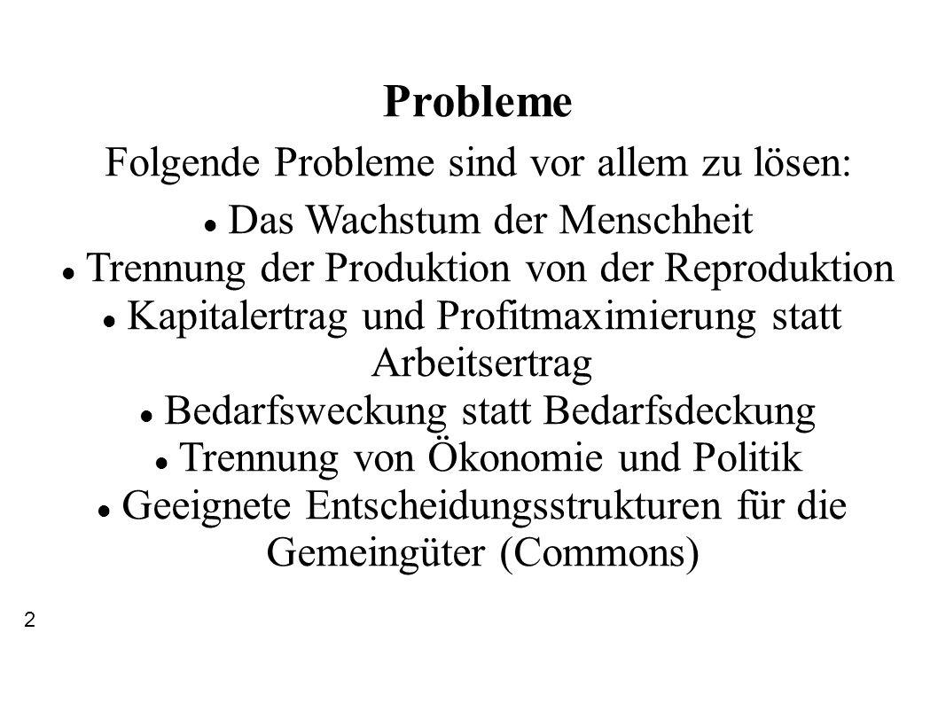 Probleme Folgende Probleme sind vor allem zu lösen: