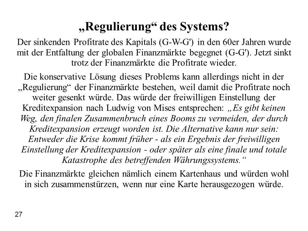 """Regulierung des Systems"