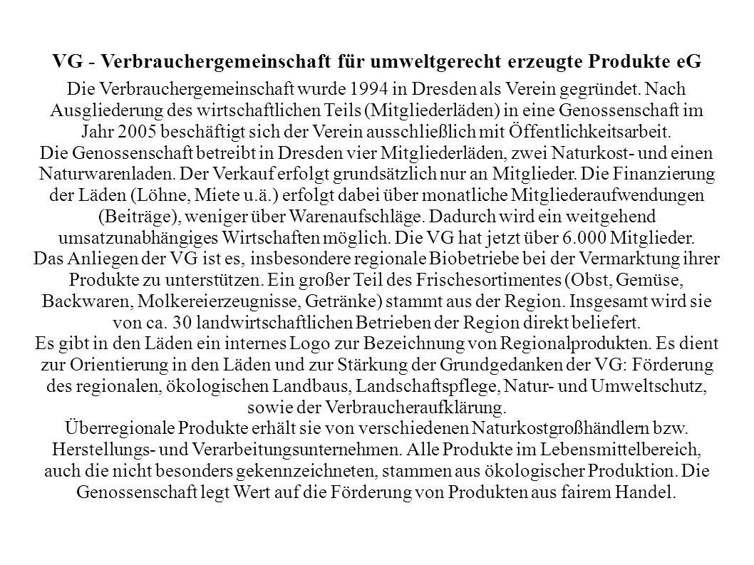 VG - Verbrauchergemeinschaft für umweltgerecht erzeugte Produkte eG