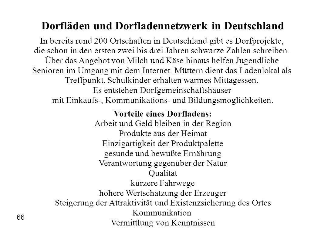 Dorfläden und Dorfladennetzwerk in Deutschland