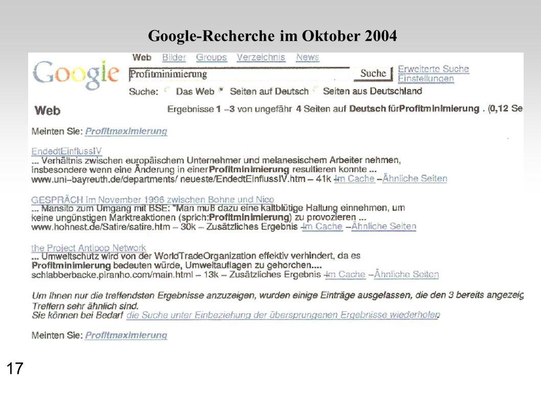 Google-Recherche im Oktober 2004