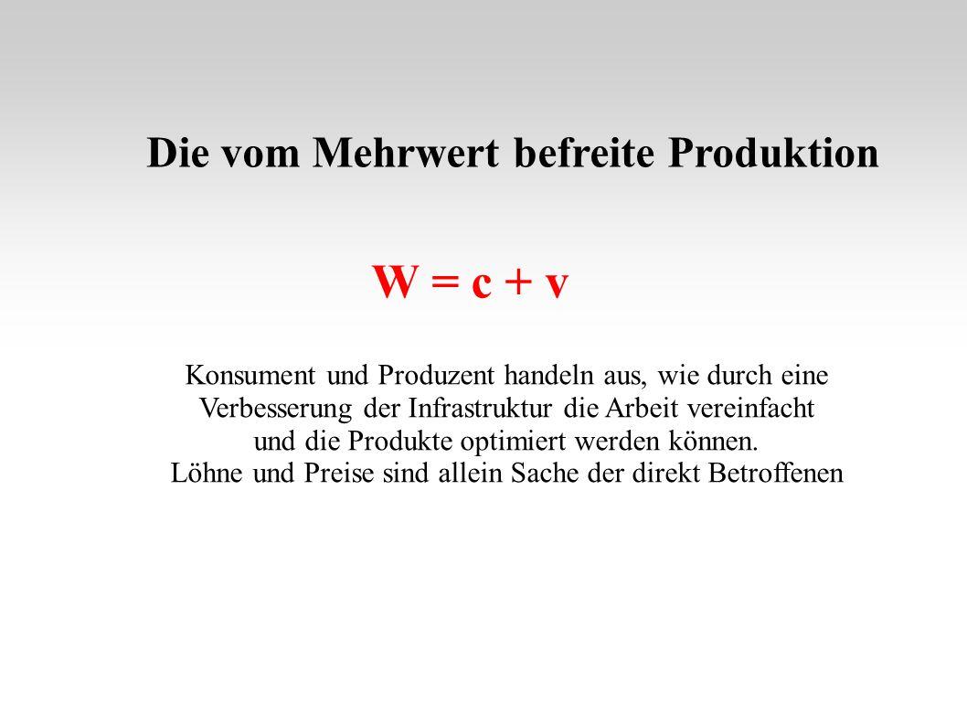W = c + v Die vom Mehrwert befreite Produktion