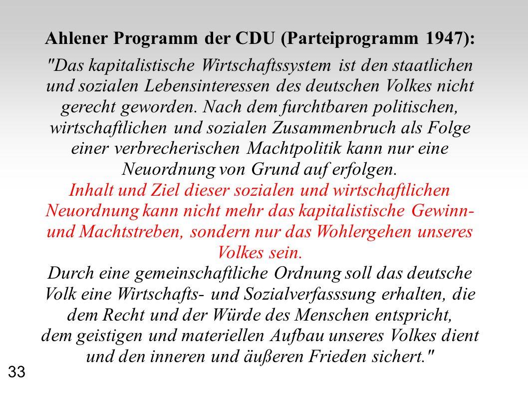 Ahlener Programm der CDU (Parteiprogramm 1947):