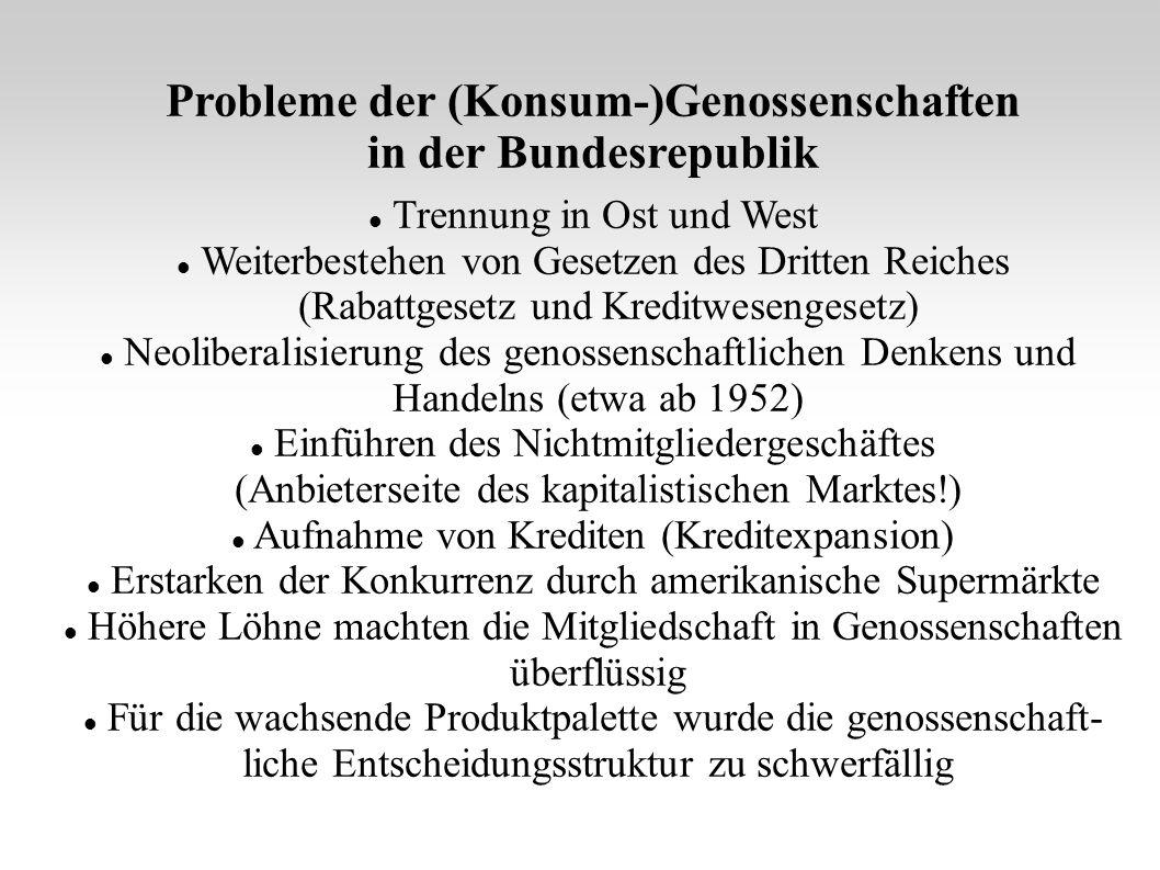 Probleme der (Konsum-)Genossenschaften