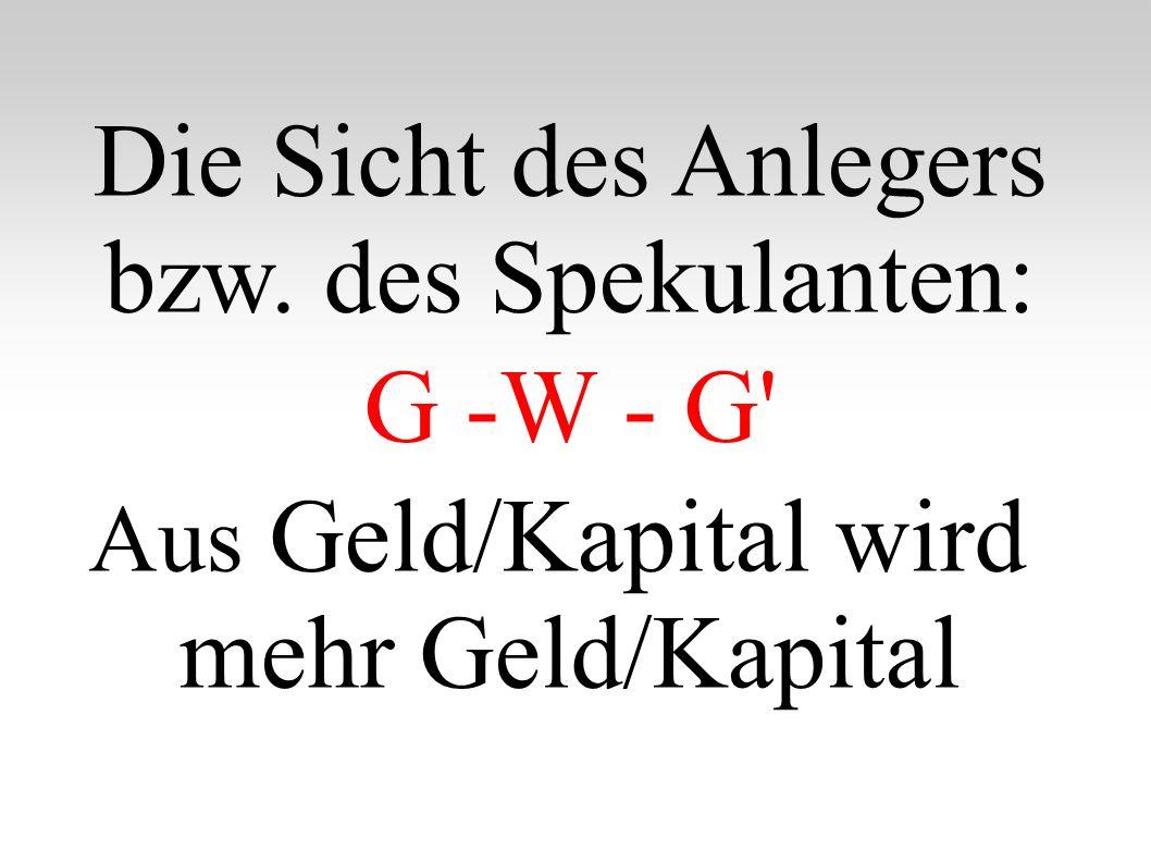 Die Sicht des Anlegers bzw. des Spekulanten: G -W - G