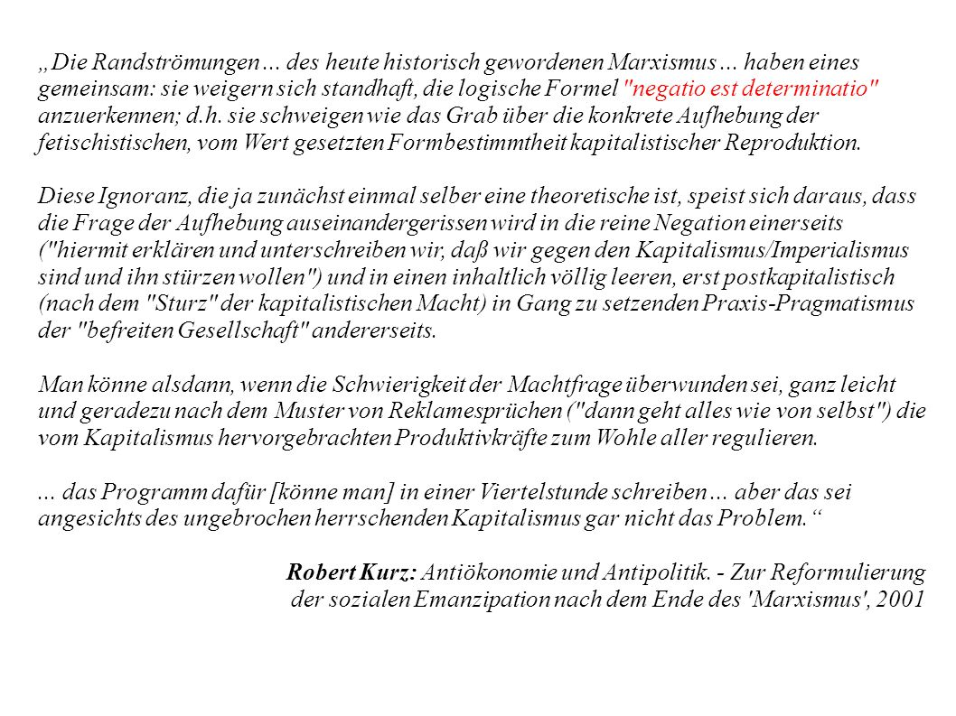 """""""Die Randströmungen. des heute historisch gewordenen Marxismus"""