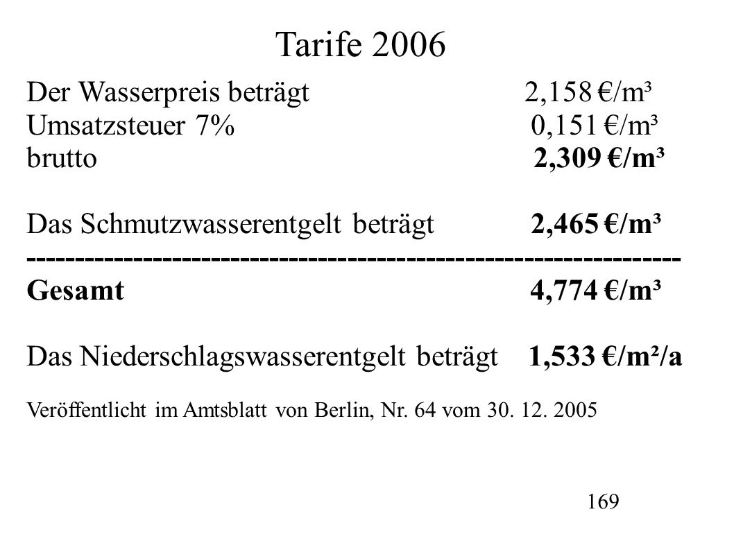 Tarife 2006 Der Wasserpreis beträgt 2,158 €/m³