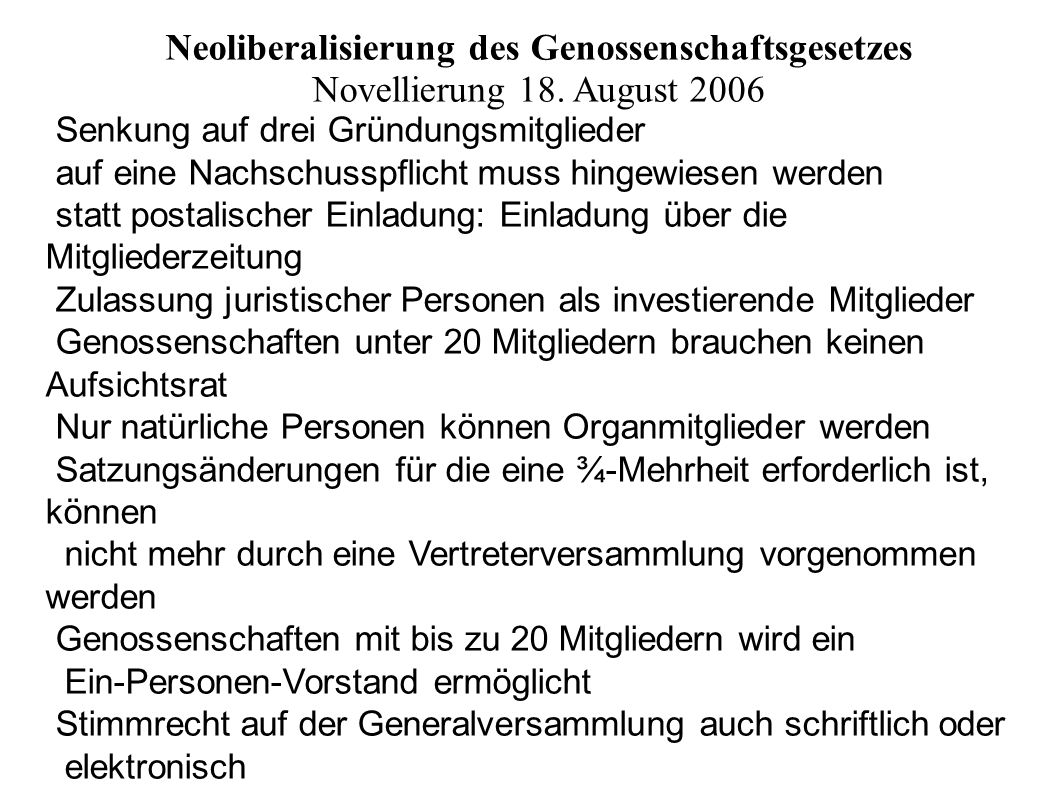 Neoliberalisierung des Genossenschaftsgesetzes