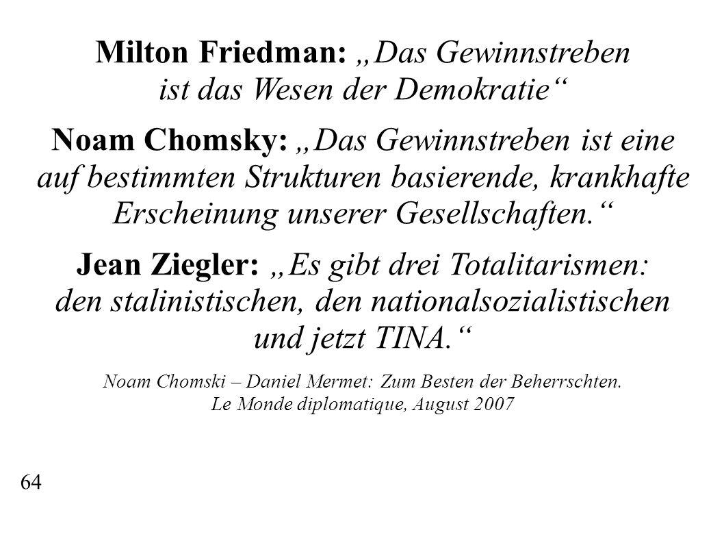 """Milton Friedman: """"Das Gewinnstreben ist das Wesen der Demokratie"""