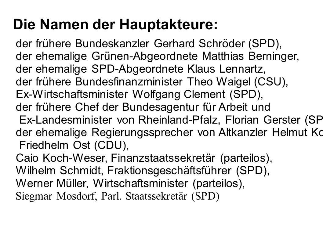 Die Namen der Hauptakteure: