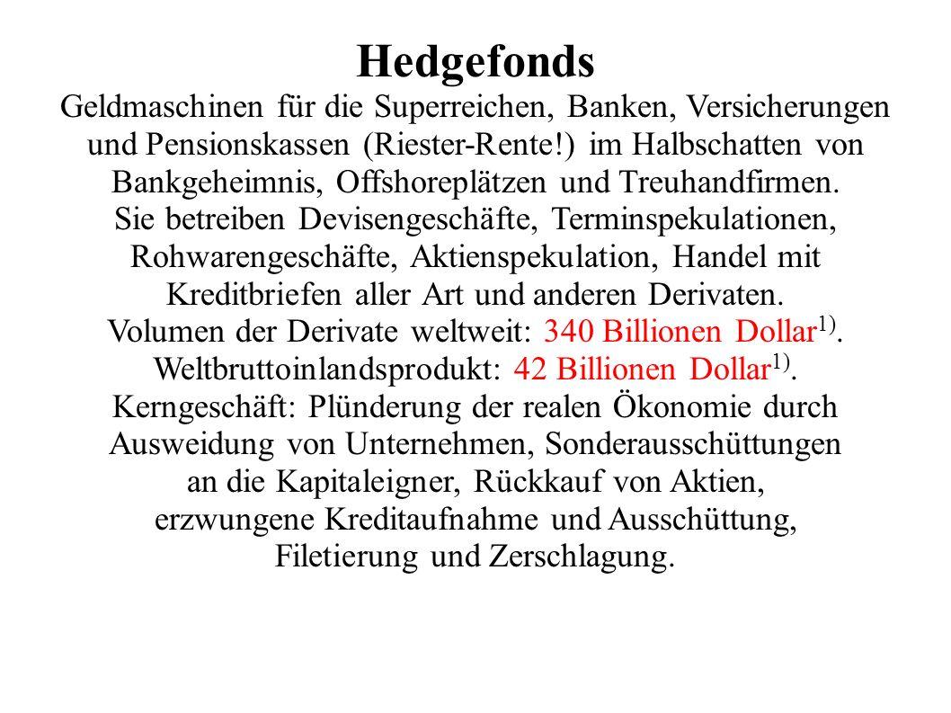 Hedgefonds Geldmaschinen für die Superreichen, Banken, Versicherungen