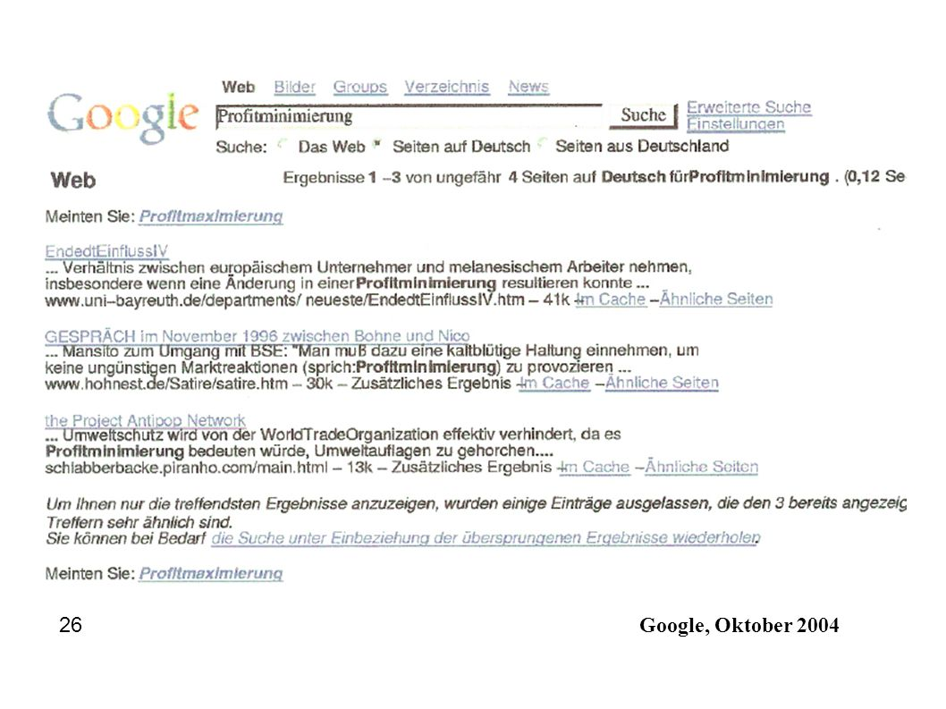 26 Google, Oktober 2004