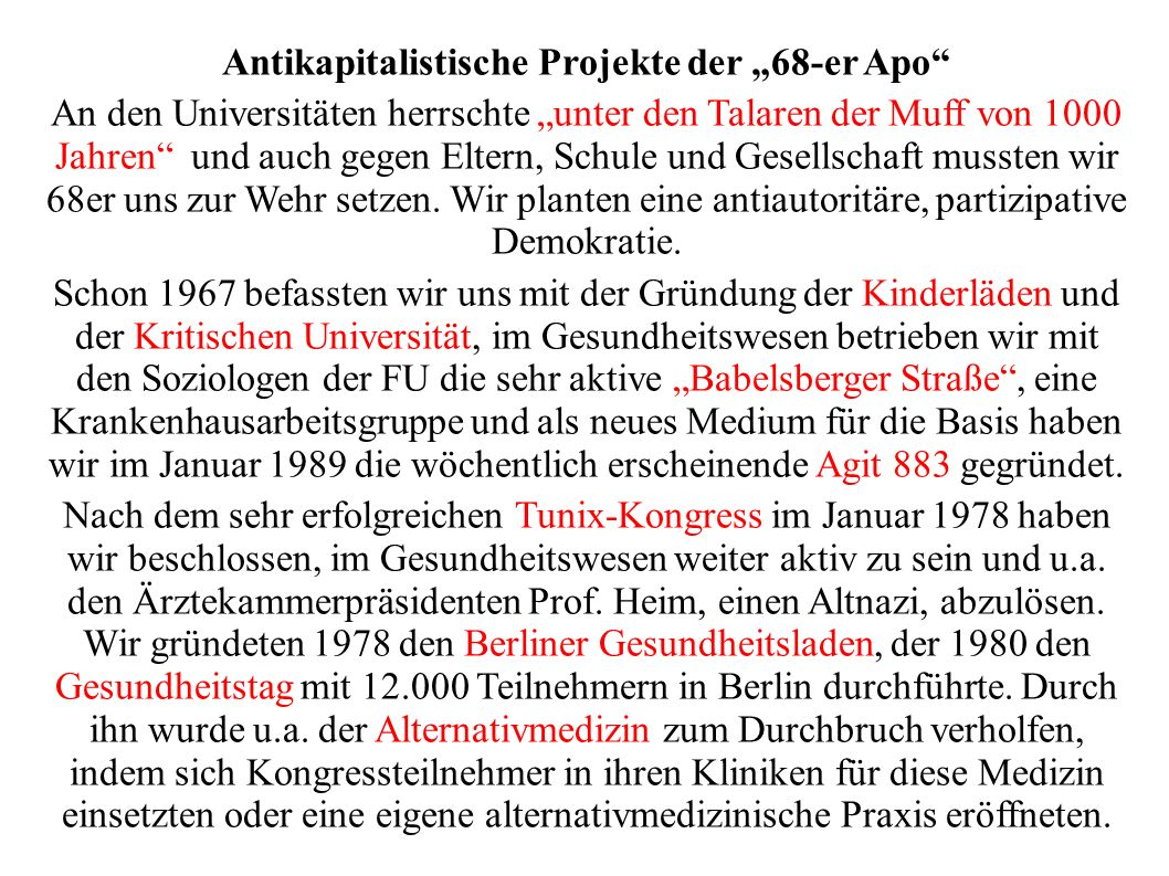 """Antikapitalistische Projekte der """"68-er Apo"""