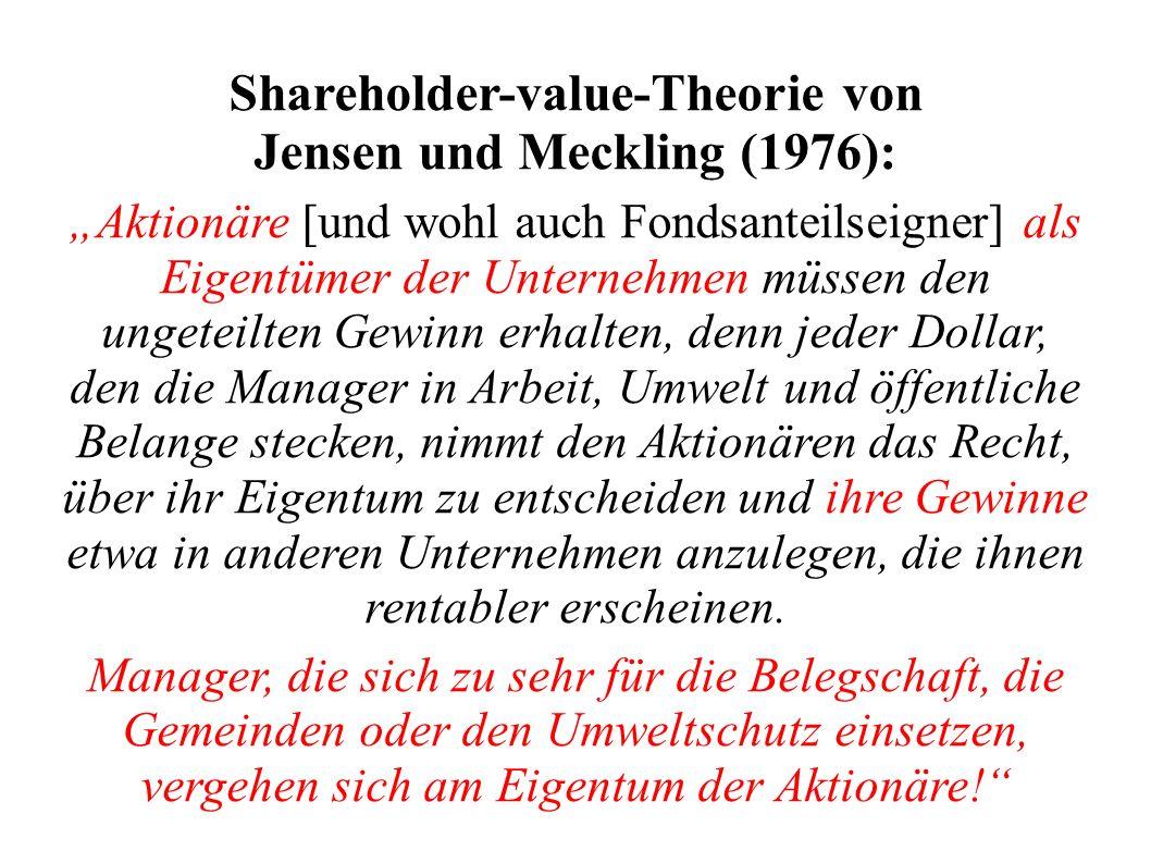 Shareholder-value-Theorie von Jensen und Meckling (1976):