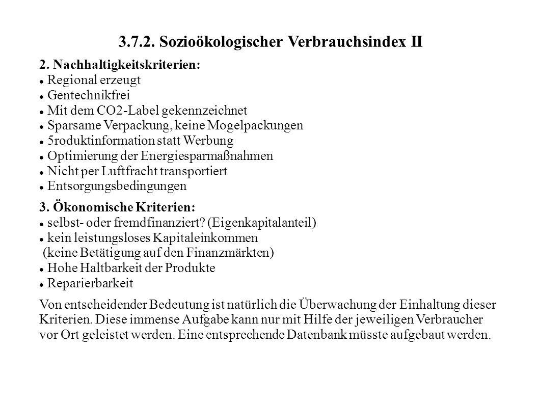 3.7.2. Sozioökologischer Verbrauchsindex II