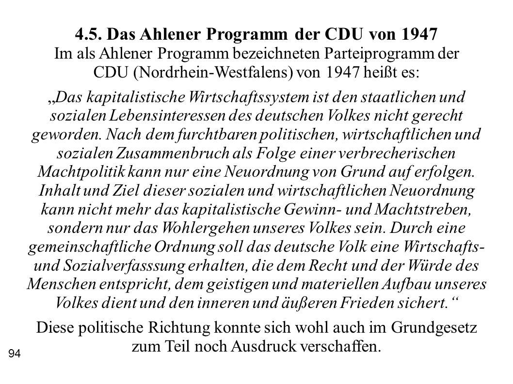4.5. Das Ahlener Programm der CDU von 1947