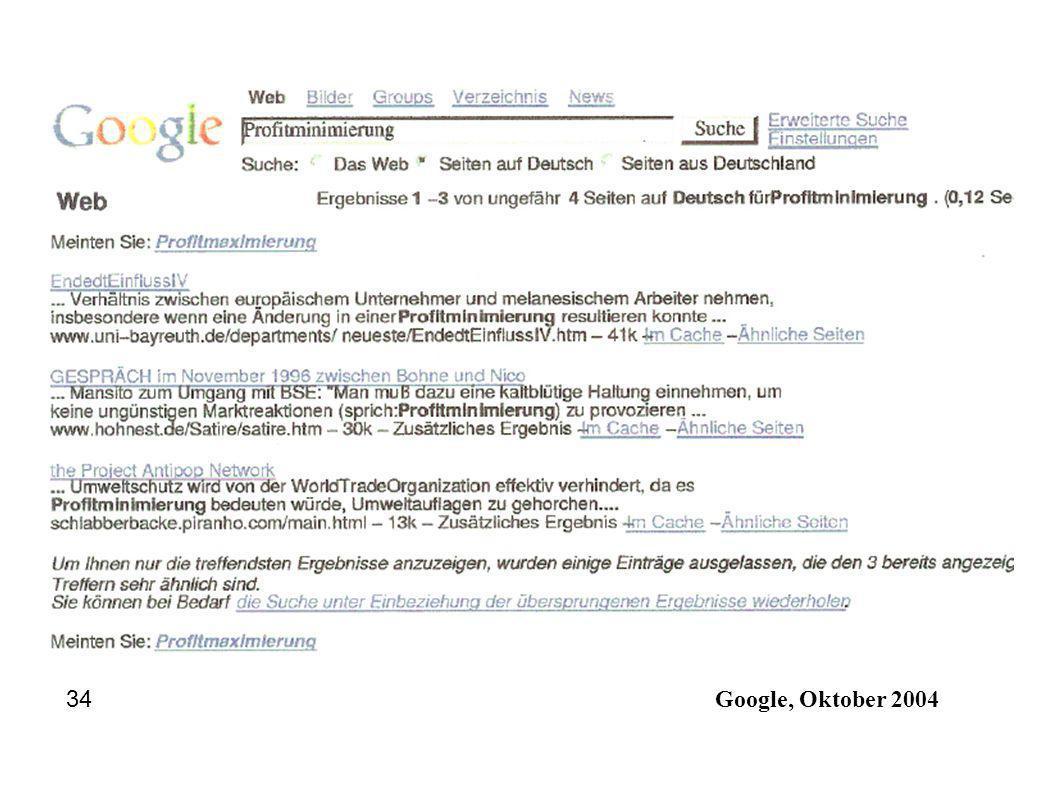 34 Google, Oktober 2004