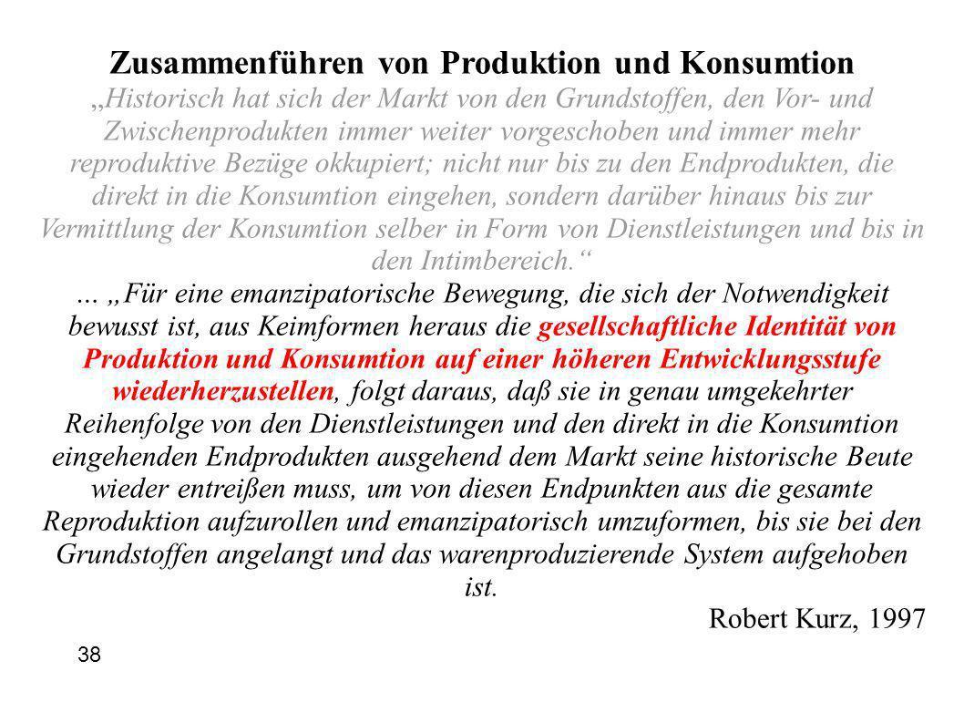 Zusammenführen von Produktion und Konsumtion
