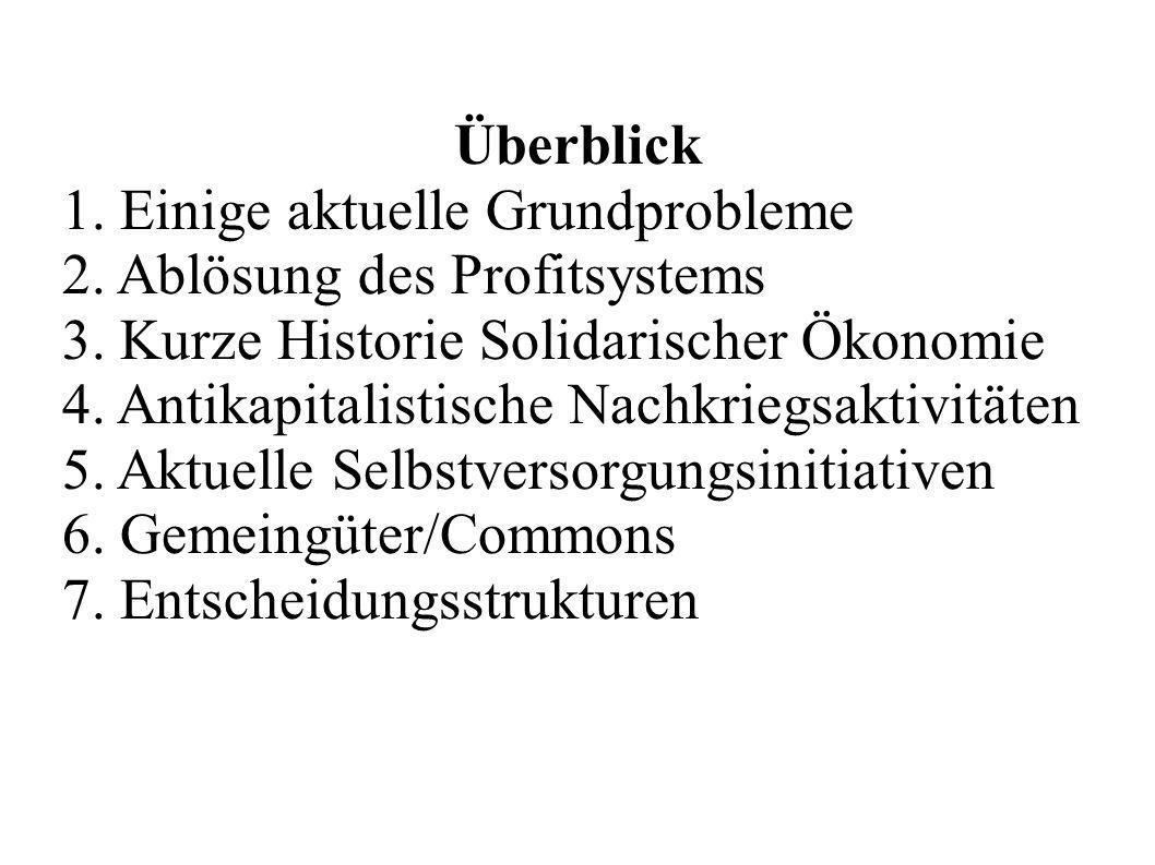 Überblick1. Einige aktuelle Grundprobleme. 2. Ablösung des Profitsystems. 3. Kurze Historie Solidarischer Ökonomie.