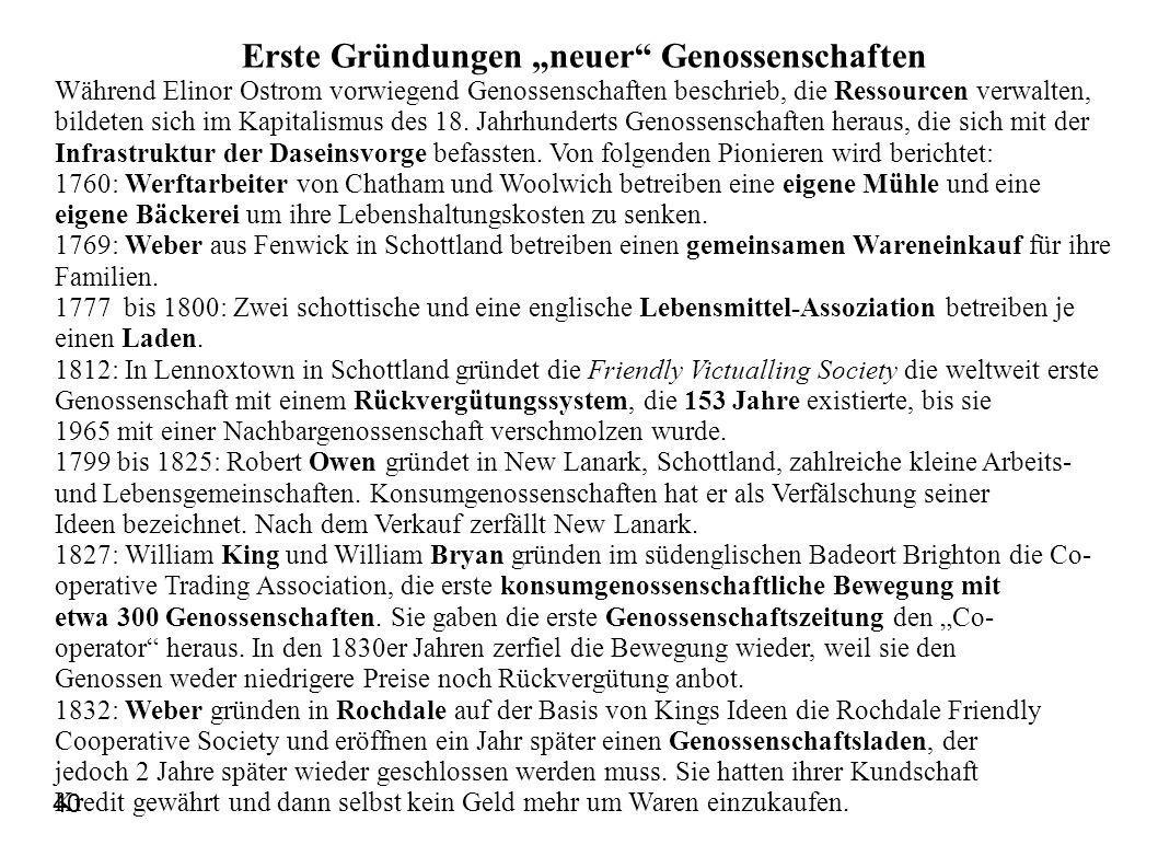 "Erste Gründungen ""neuer Genossenschaften"