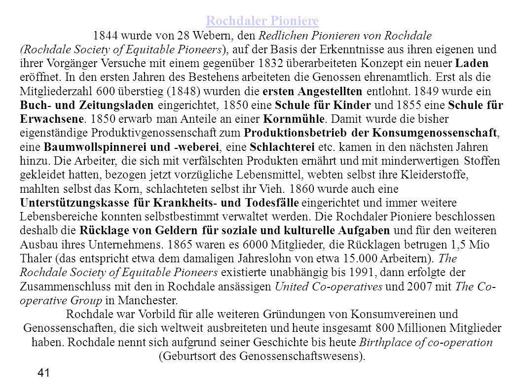 1844 wurde von 28 Webern, den Redlichen Pionieren von Rochdale