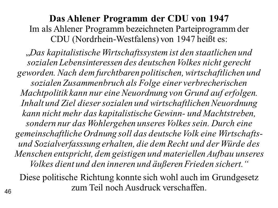 Das Ahlener Programm der CDU von 1947