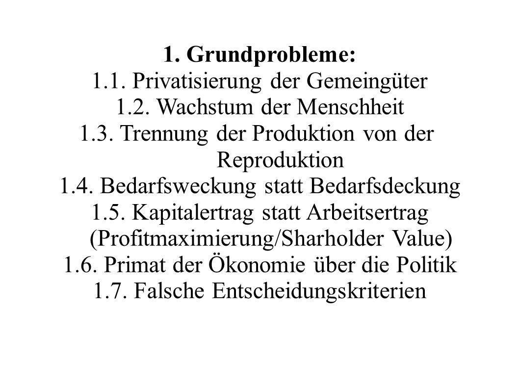 1. Privatisierung der Gemeingüter 1.2. Wachstum der Menschheit