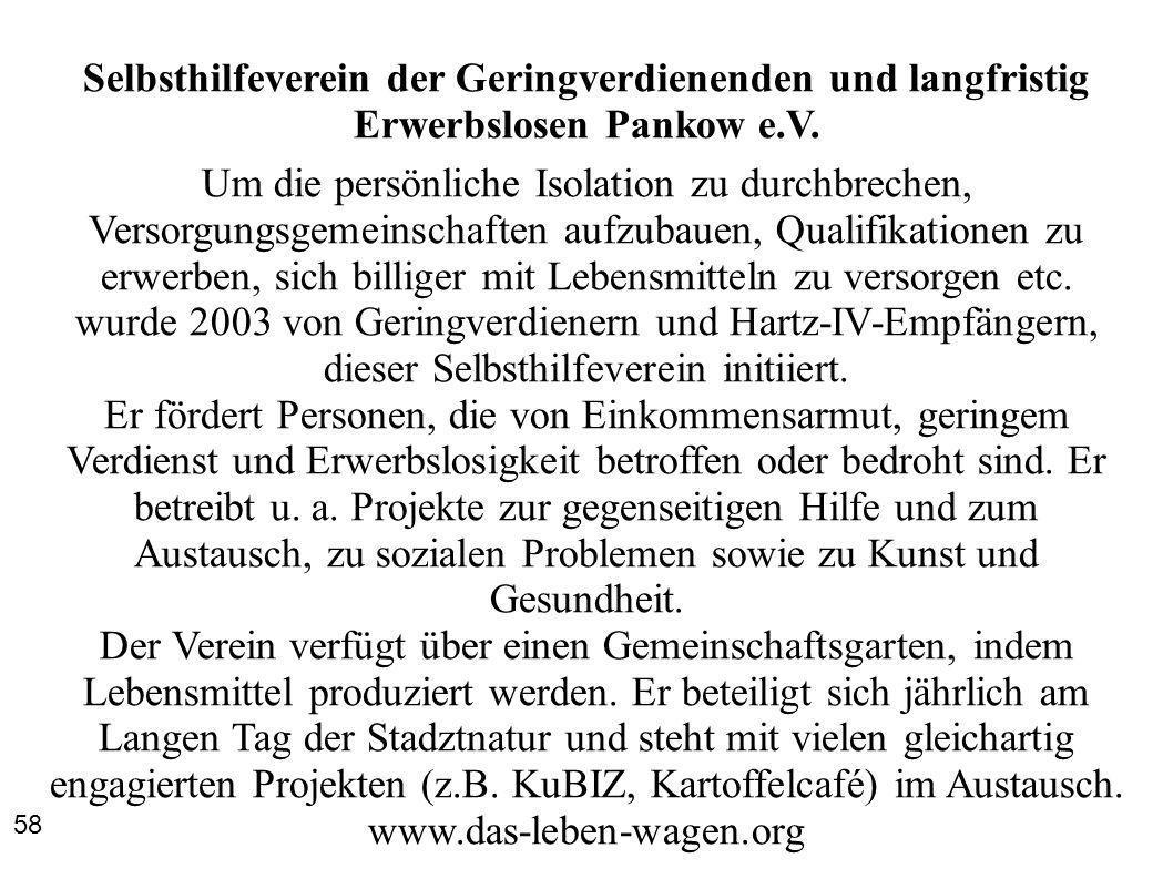 Selbsthilfeverein der Geringverdienenden und langfristig Erwerbslosen Pankow e.V.