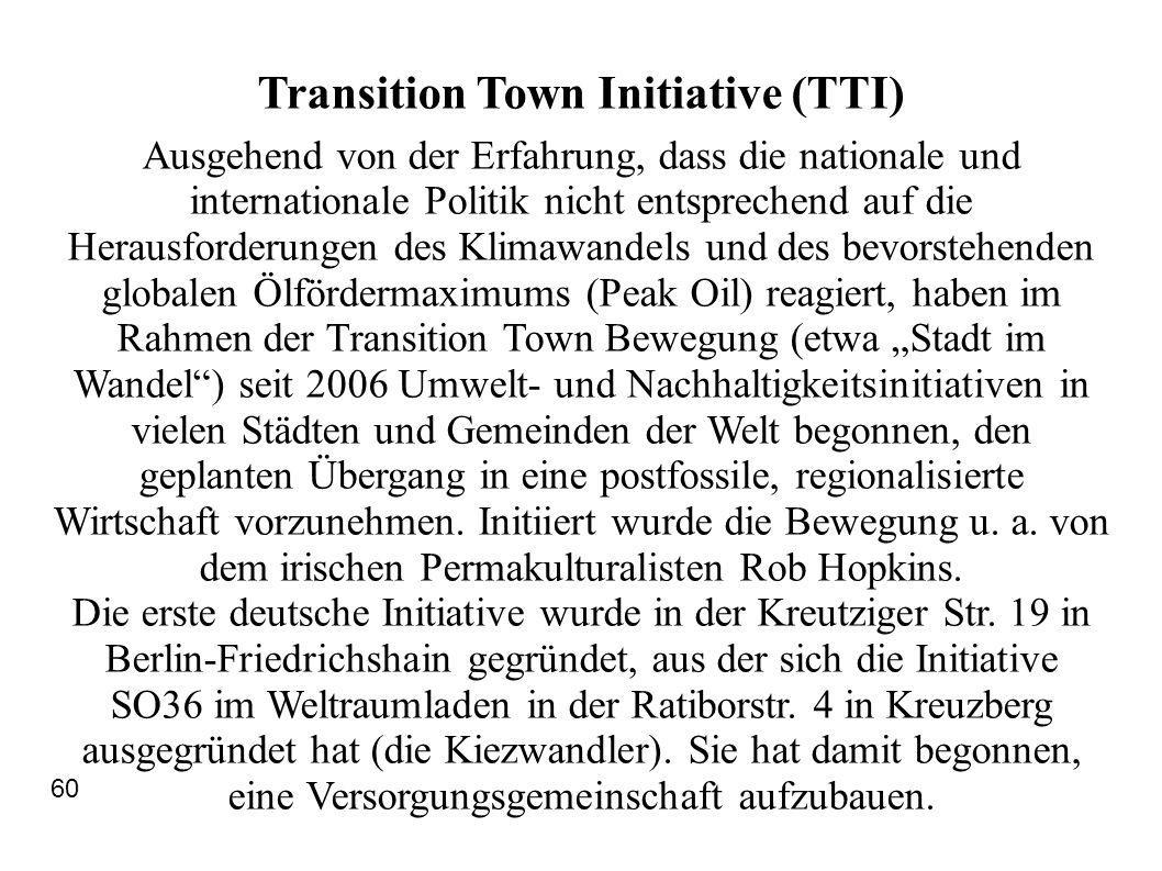 Transition Town Initiative (TTI)