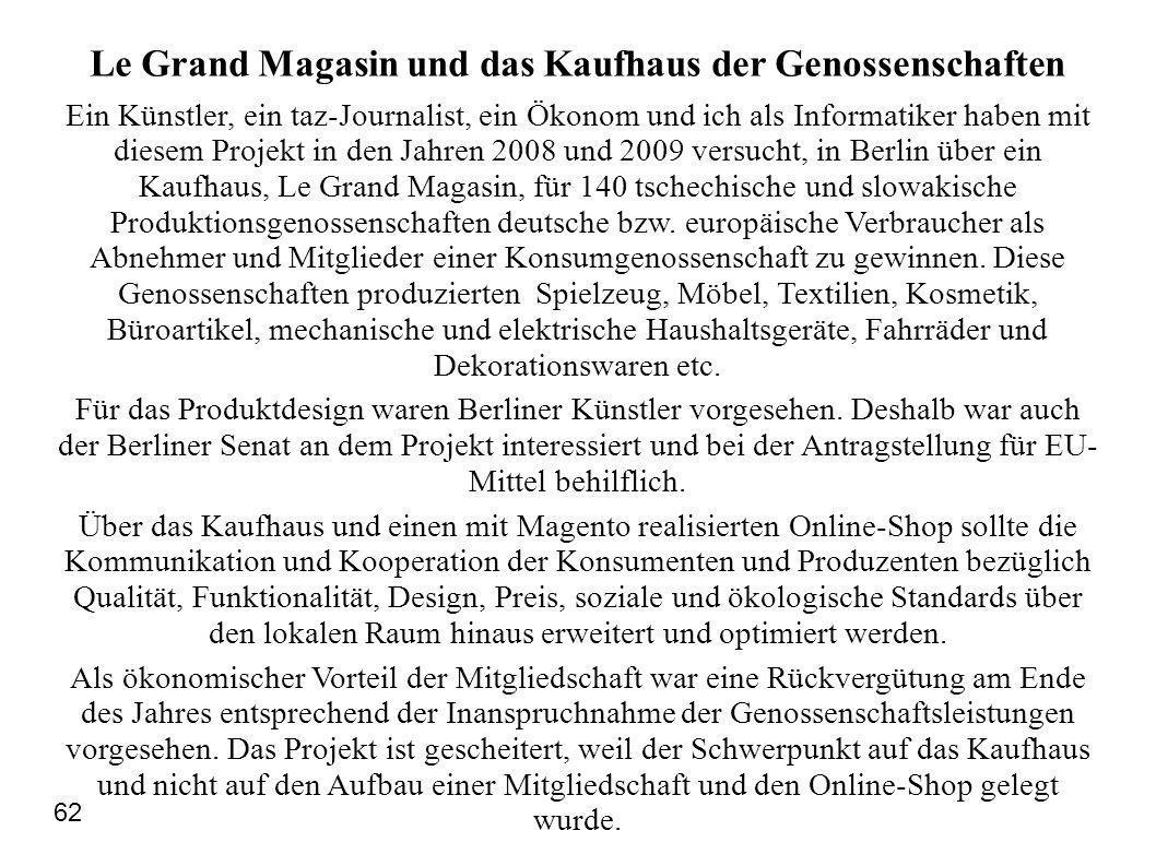 Le Grand Magasin und das Kaufhaus der Genossenschaften