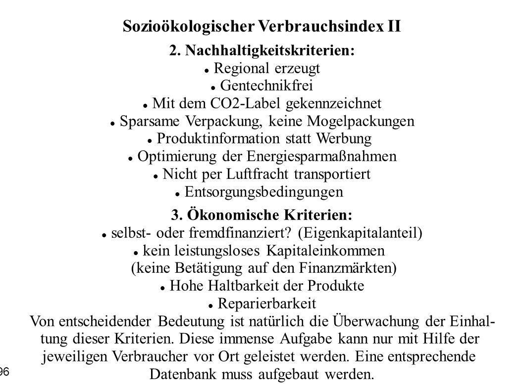 Sozioökologischer Verbrauchsindex II
