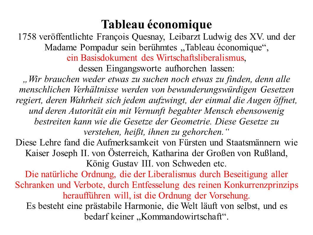 """Tableau économique1758 veröffentlichte François Quesnay, Leibarzt Ludwig des XV. und der Madame Pompadur sein berühmtes """"Tableau économique ,"""