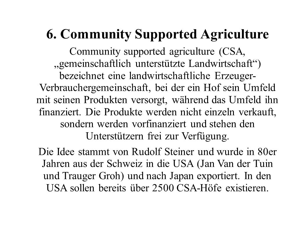 6. Community Supported Agriculture