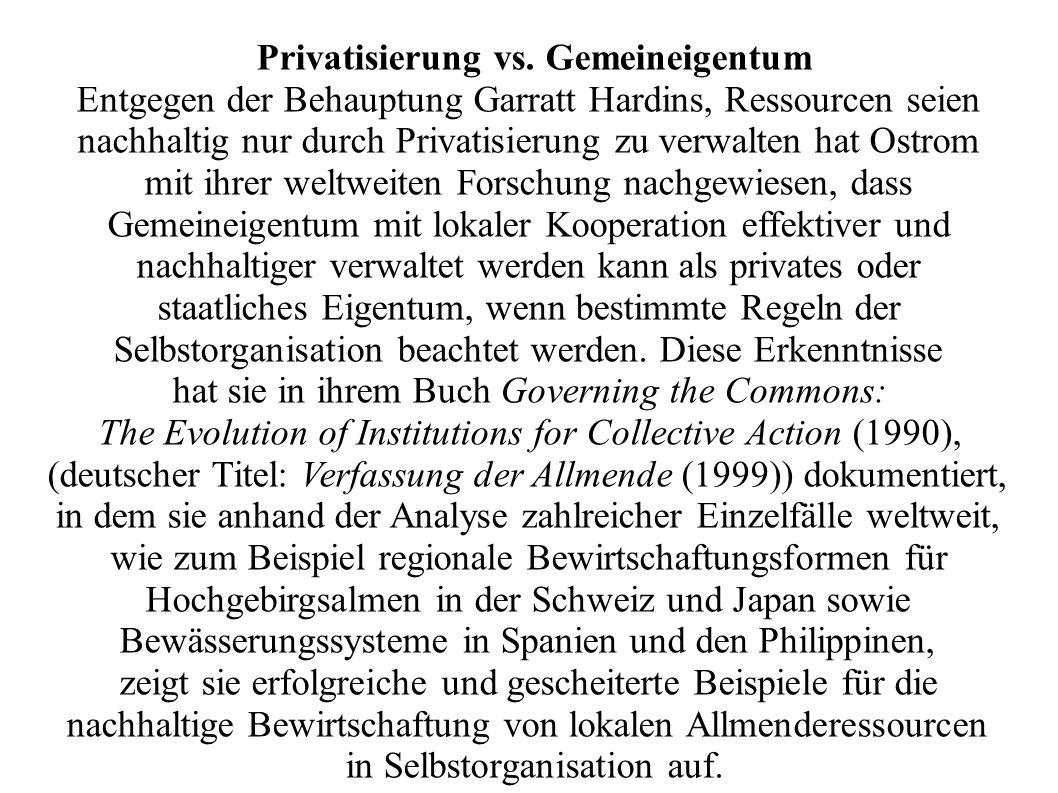 Privatisierung vs. Gemeineigentum