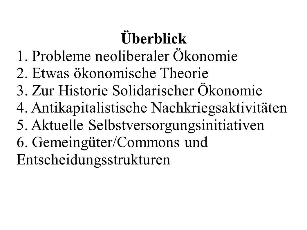 Überblick 1. Probleme neoliberaler Ökonomie. 2. Etwas ökonomische Theorie. 3. Zur Historie Solidarischer Ökonomie.
