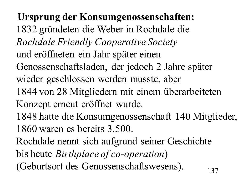 1832 gründeten die Weber in Rochdale die