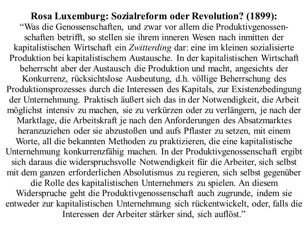 Rosa Luxemburg: Sozialreform oder Revolution (1899):