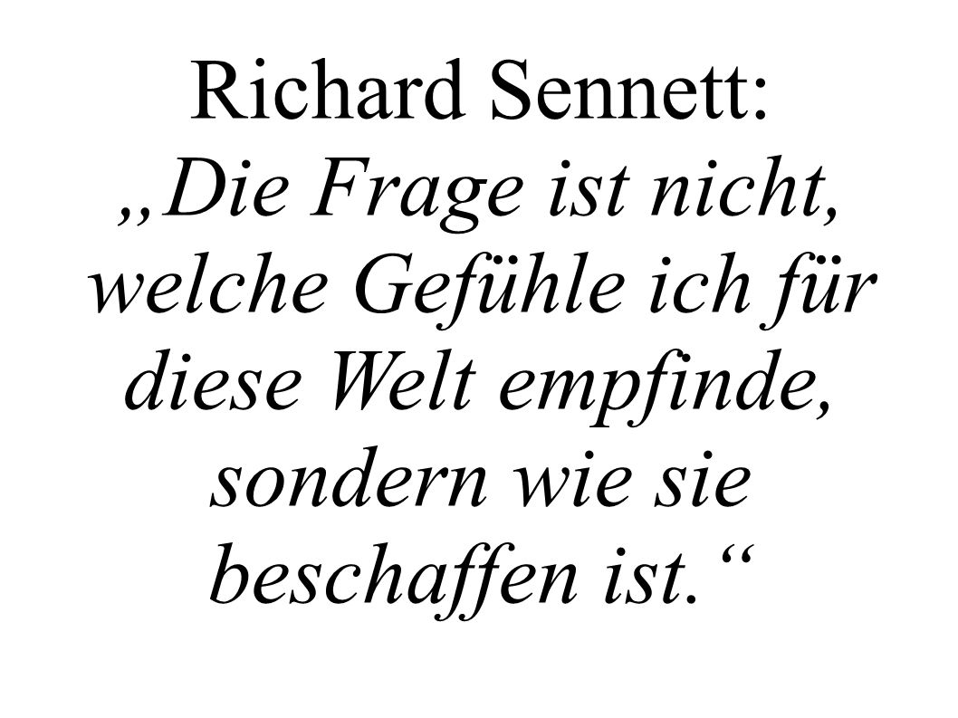 """Richard Sennett: """"Die Frage ist nicht, welche Gefühle ich für diese Welt empfinde, sondern wie sie beschaffen ist."""
