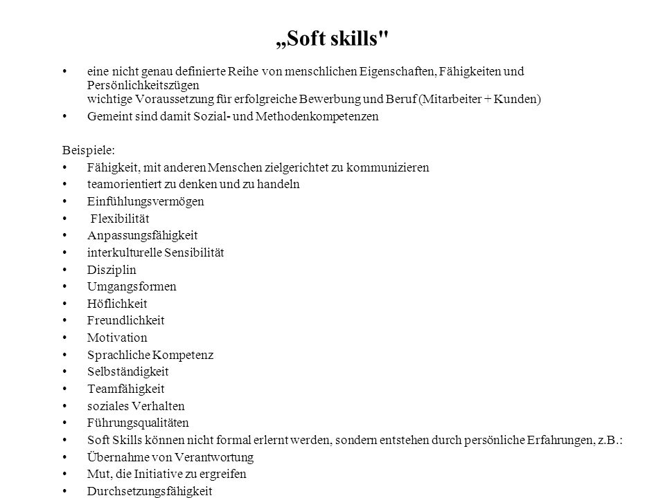"""Soft skills"