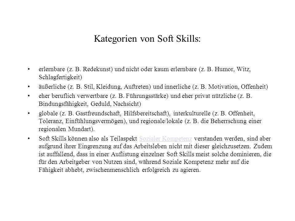 Kategorien von Soft Skills: